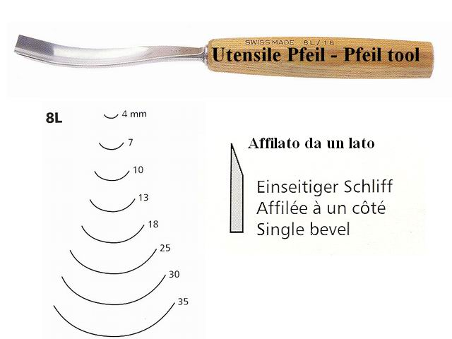 Pfeil carving tool 8L/10 curved