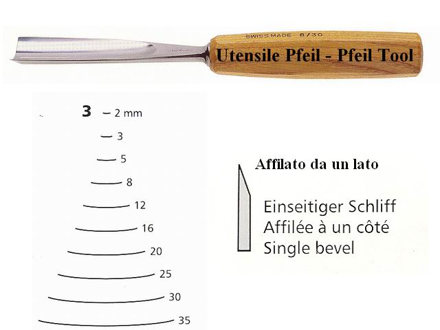 Pfeil straight chisel 3/16 curved edge
