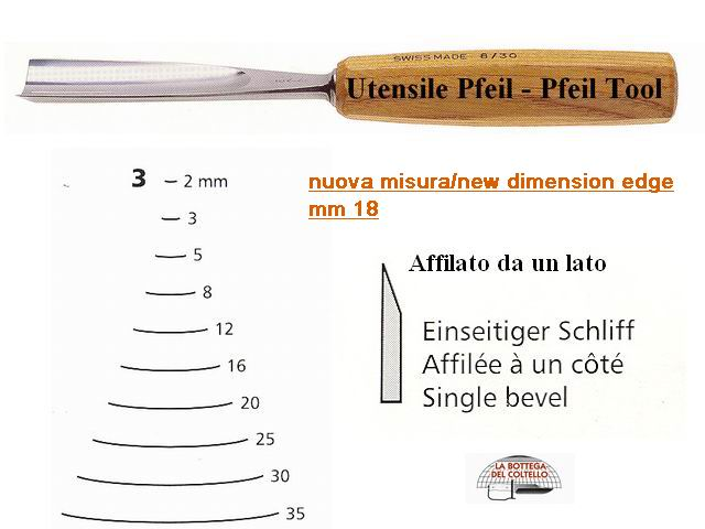 Pfeil straight chisel 3/18 curved edge