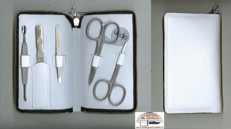 Manicure set white leather zip