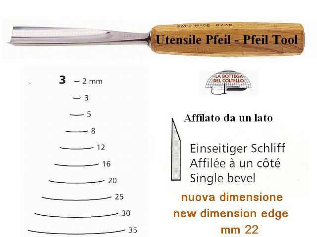 Pfeil straight chisel 3/22 curved edge