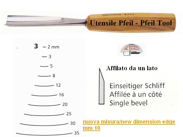 Pfeil straight chisel 3/10 curved edge