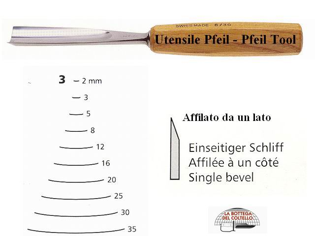 Pfeil straight chisel 3/2 curved edge