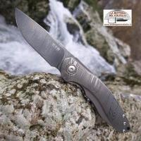 Damask and titanium Timavo folding knife